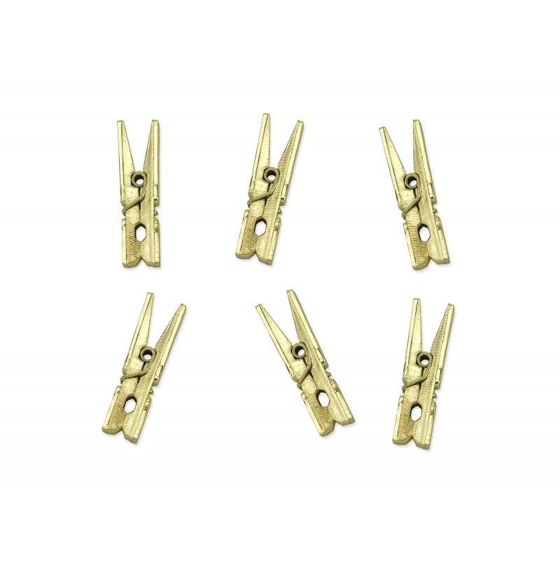 Set de 20 pinzas decorativas doradas de 3 cm