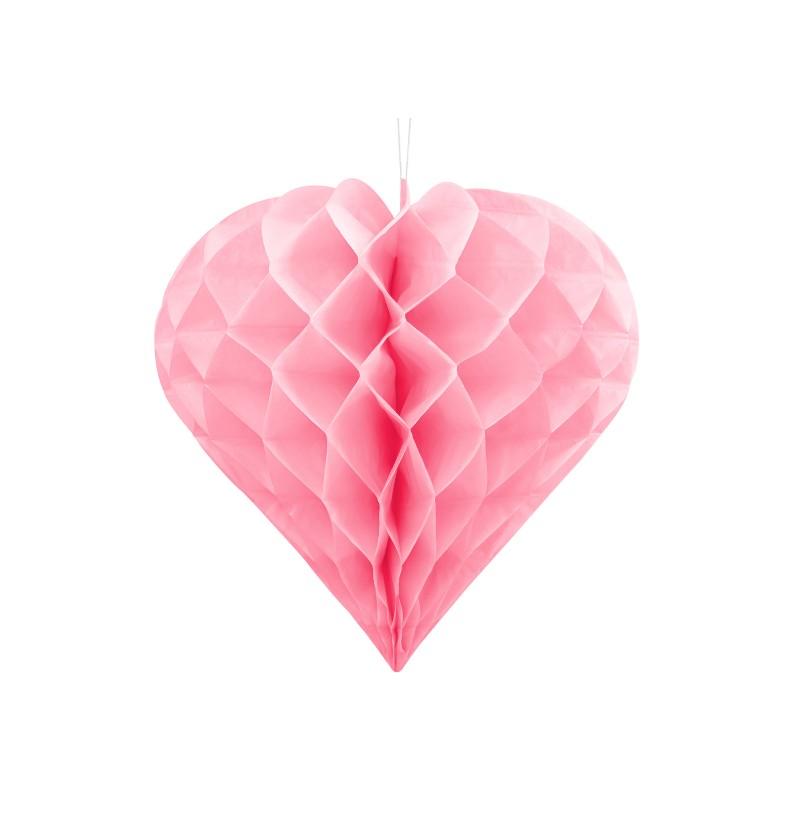 Corazón colgante rosa de 30 cm de nido de abeja