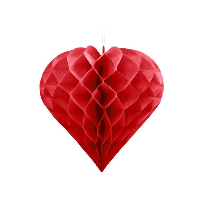 Corazón colgante rojo de 30 cm de nido de abeja