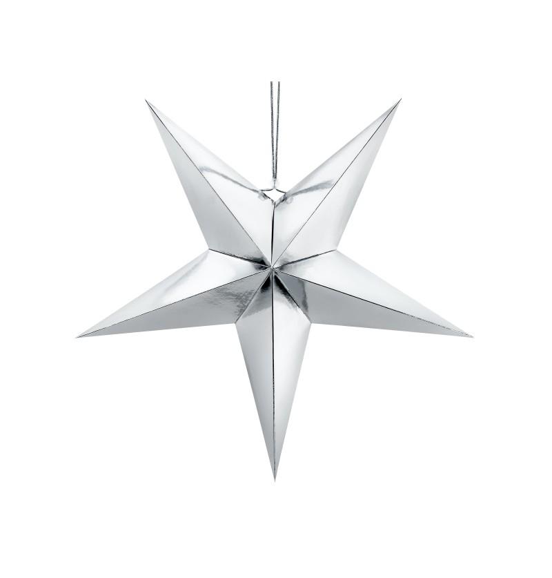 Estrella colgante plateada de 70 cm de papel