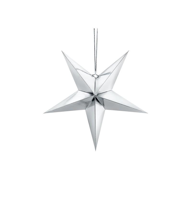 Estrella colgante plateada de 45 cm de papel