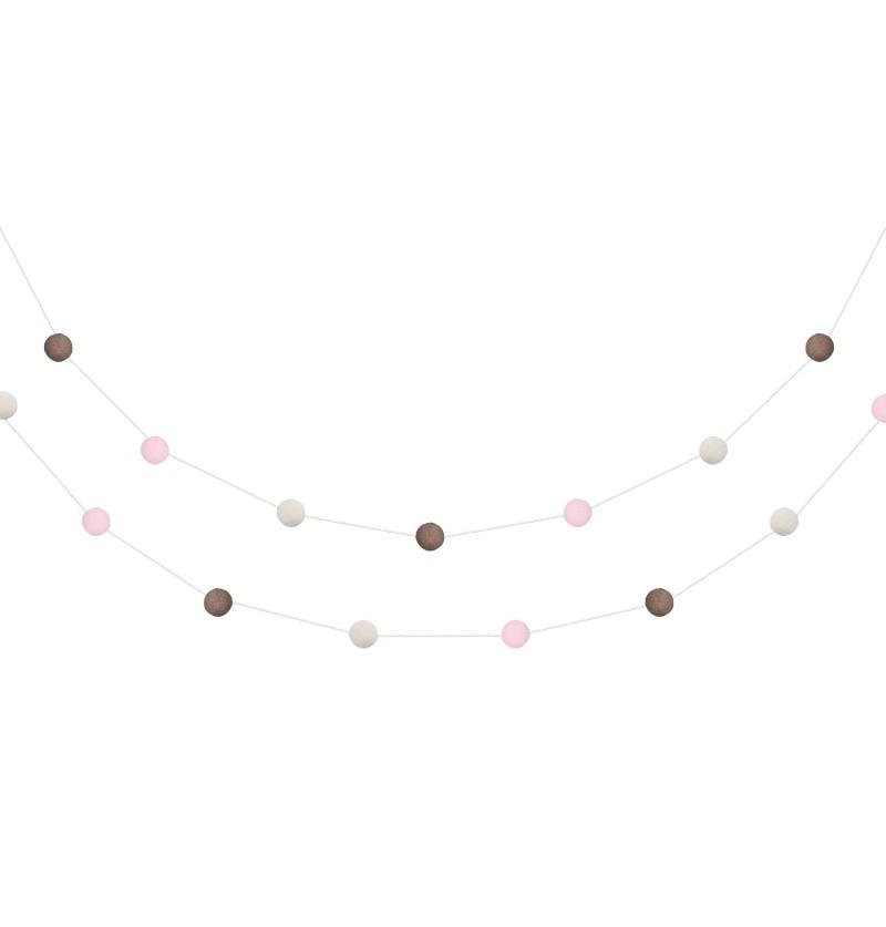 Guirnalda de pompones marrón, rosa y beige de terciopelo