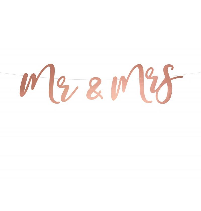 "Guirnalda ""Mr & Mrs"" oro rosa"