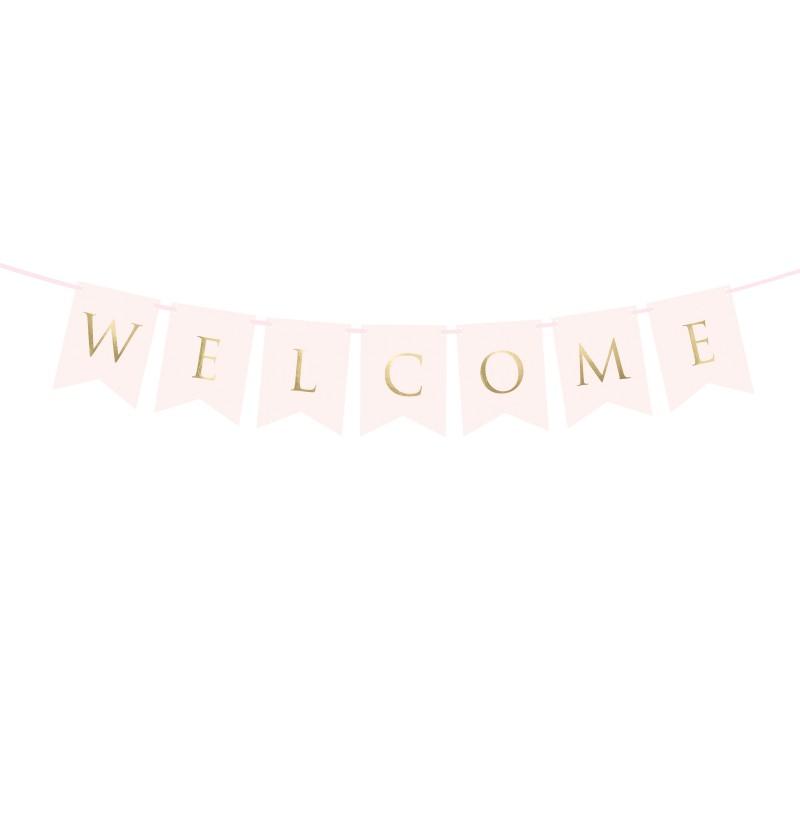 """Banderín """"Welcome"""" rosa pastel y dorado - Wedding in rose colour"""