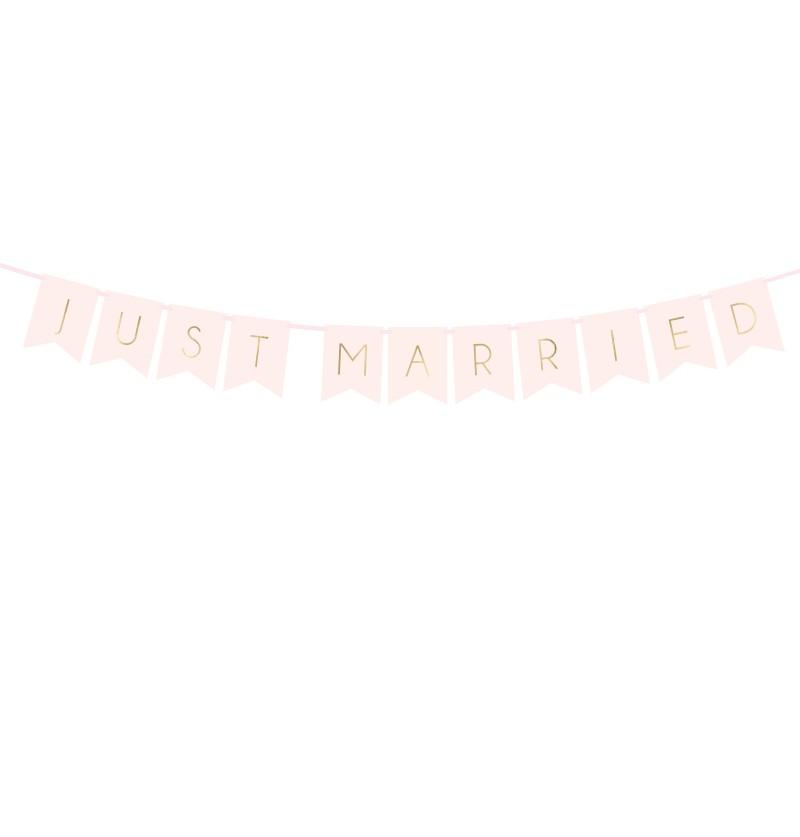 """Banderín """"Just Married"""" rosa pastel y dorado - Wedding in rose colour"""