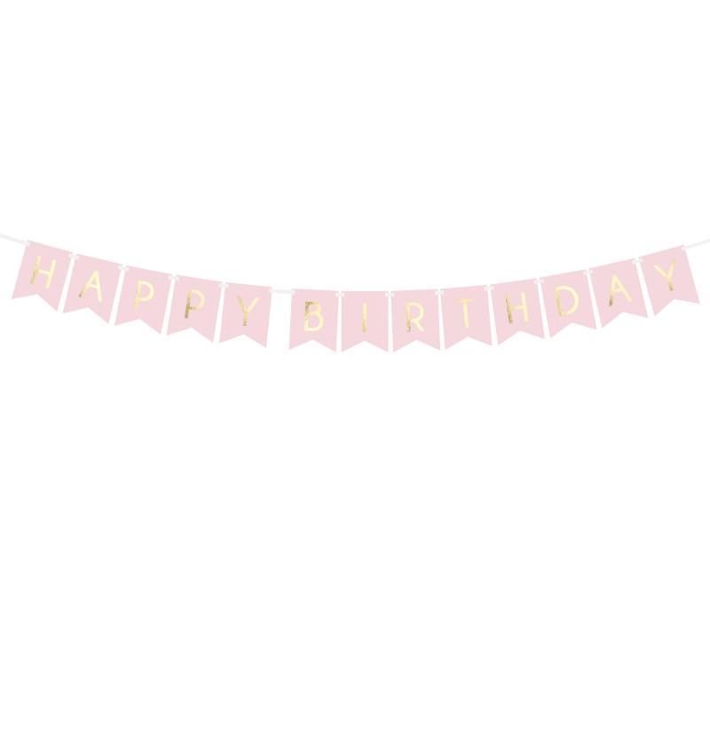 "Banderín ""Happy Birthday"" rosa pastel - Touch of Gold"