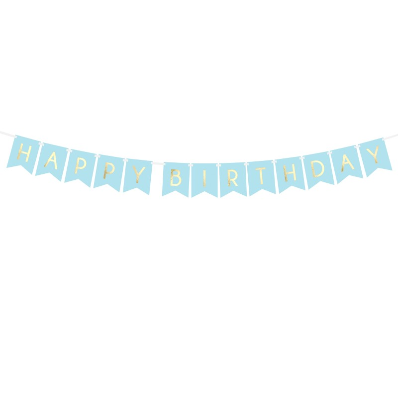 "Banderín ""Happy Birthday"" azul pastel - Touch of Gold"