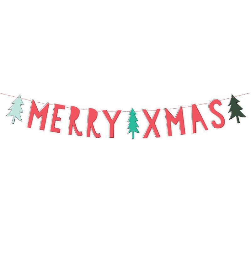 """Guirnalda """"Merry Xmas"""" roja con árboles de Navidad - Merry Xmas Collection"""
