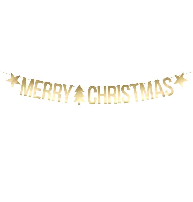 """Guirnalda """"Merry Christmas"""" dorada con estrellas y árbol de navidad - Christmas"""