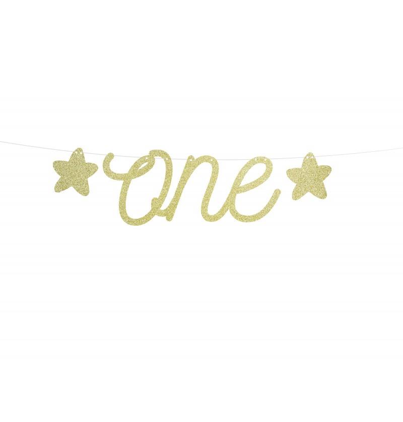 """Guirnalda """"One"""" dorada con estrellas - Pink 1st Birthday"""