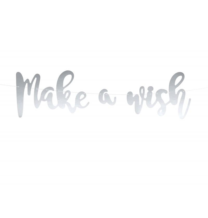 """Guirnalda """"Make a wish"""" plateada de papel"""