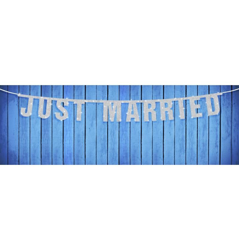 """Guirnalda """"Just married"""" blanca brillante de papel"""