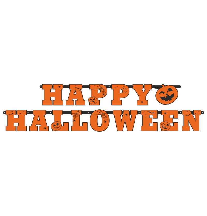 """Guirnalda """"Happy Halloween"""" con calabazas de papel - Halloween"""