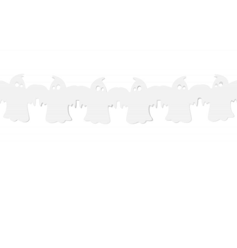 Guirnalda de fantasmas blancos de papel - Halloween