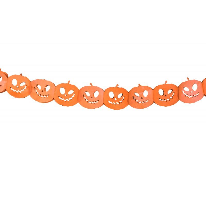 Guirnalda de calabazas naranjas de papel - Halloween