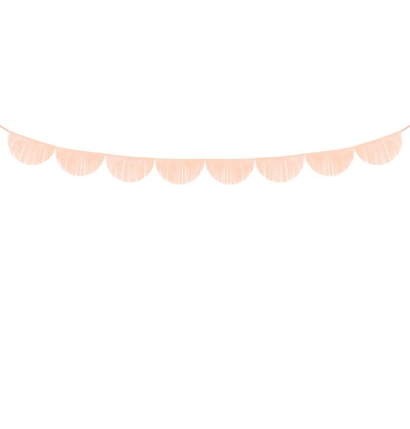 Guirnalda de semicírculos melocotón con flecos