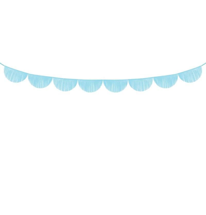 Guirnalda de semicírculos azul cielo con flecos
