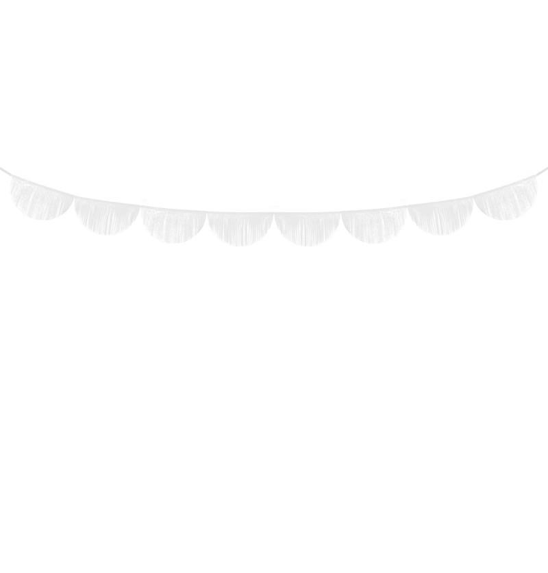Guirnalda de semicírculos blancos con flecos