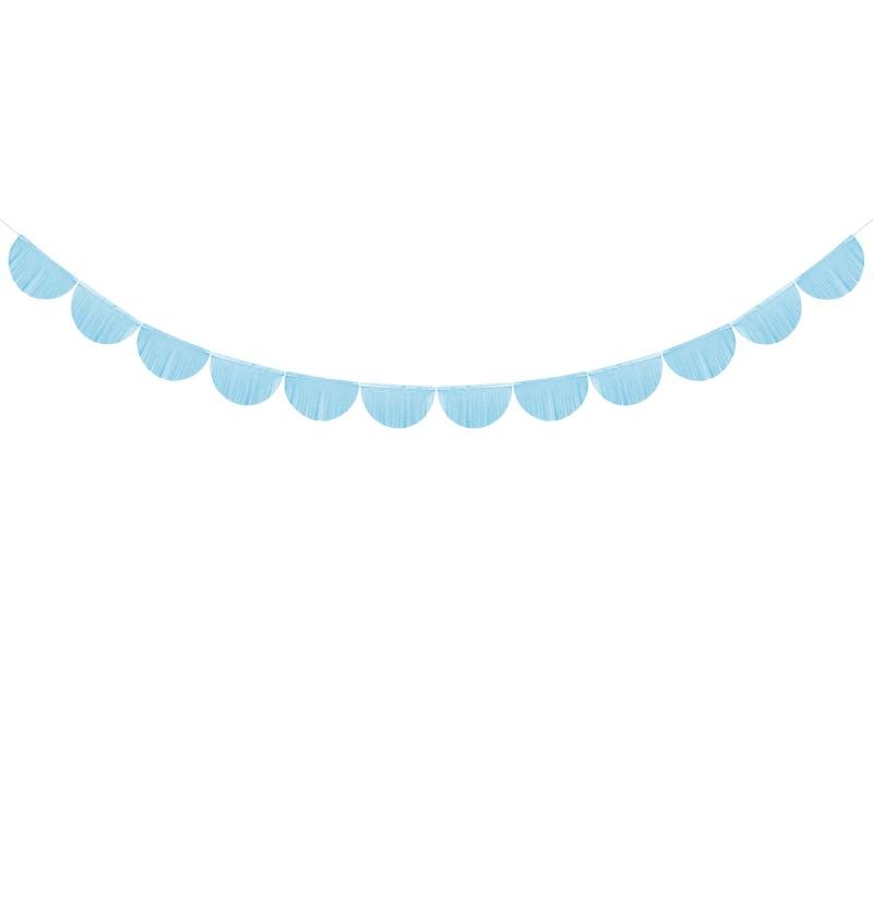 Guirnalda de semicírculos azul cielo con flecos de 20 cm