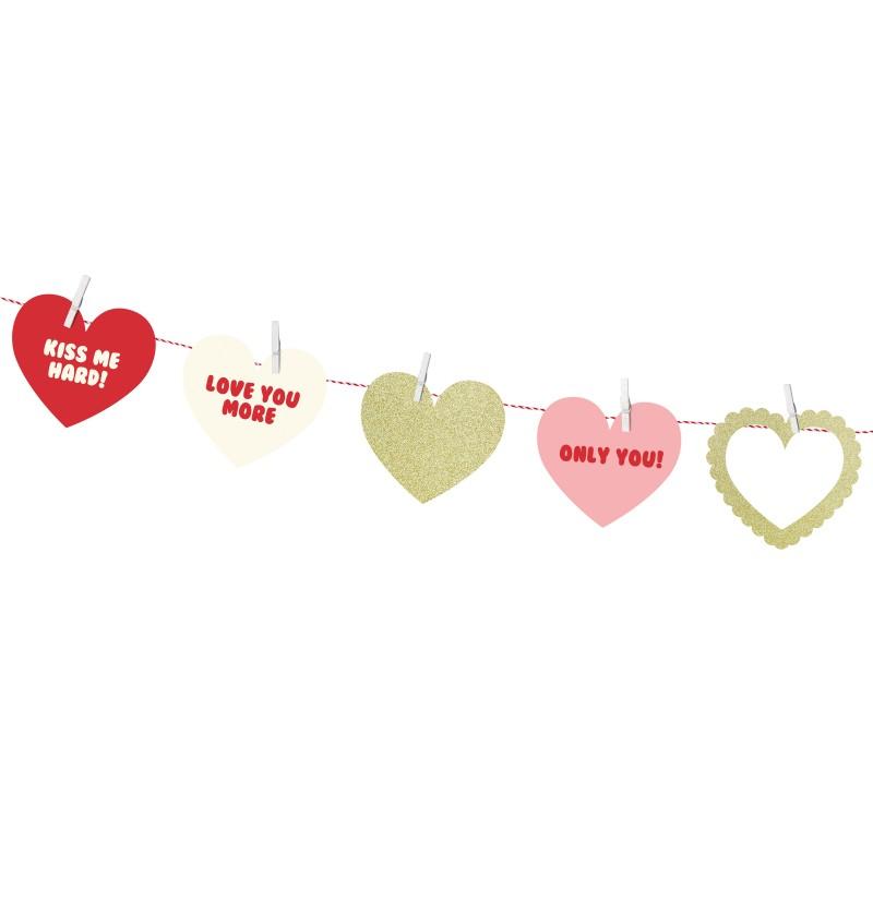 Guirnalda de corazones con estampado variado de papel - Sweet Love Collection