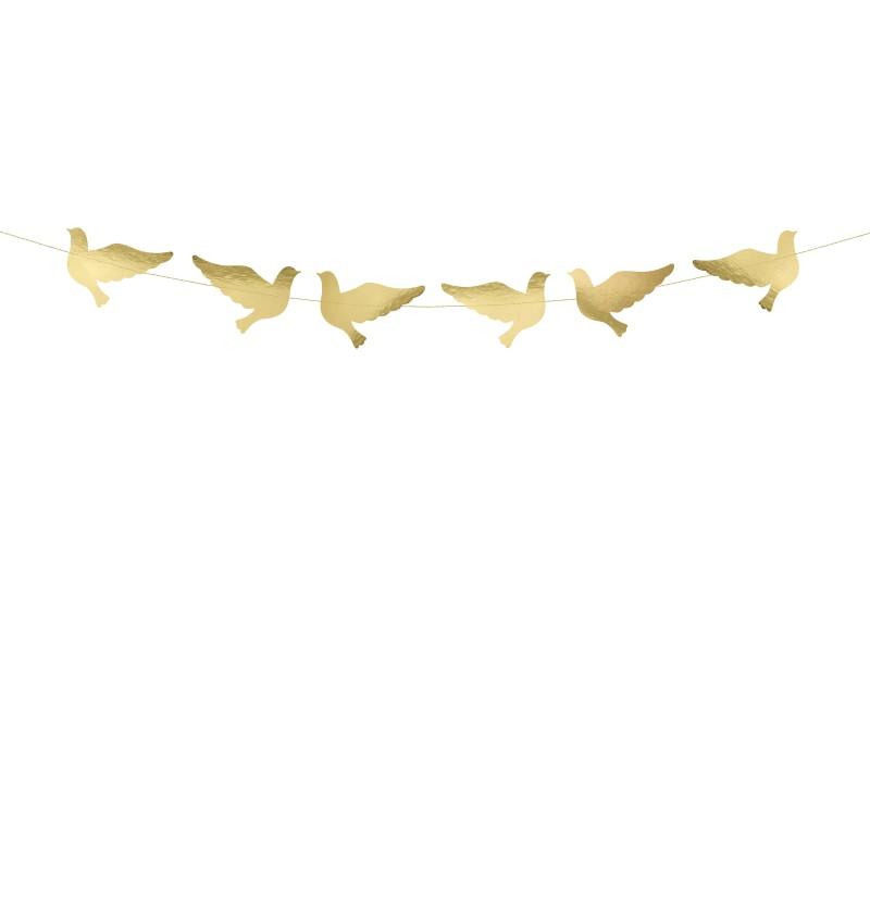 Guirnalda con palomas doradas de papel - First Communion