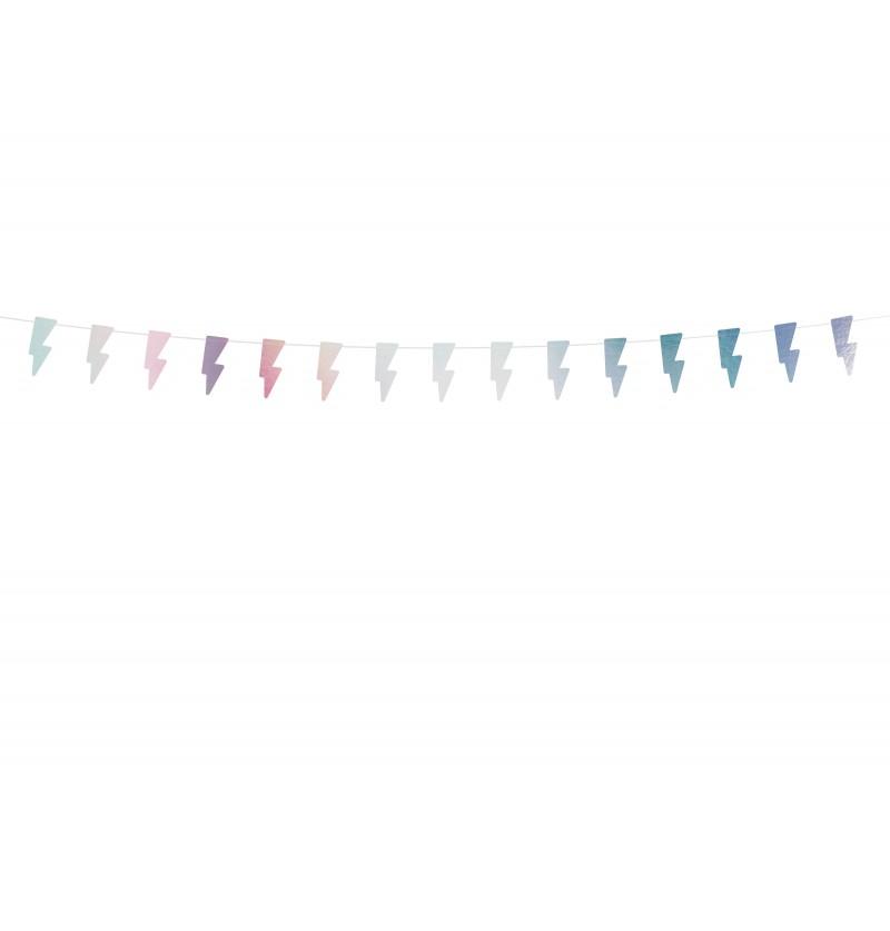 Banderín con forma de rayo blanco iridiscente - Electric Holo