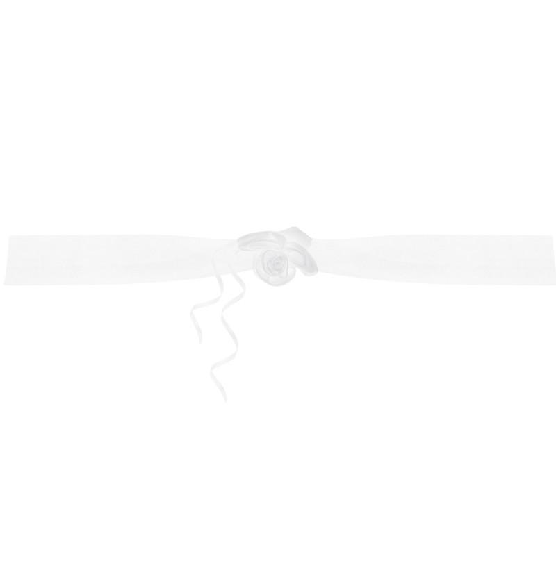 Set de 2 cintas con flor de organza blanca para coche