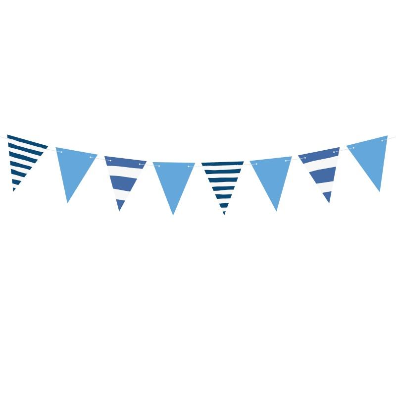 Banderín estampado de rayas azules de papel - Ahoy!