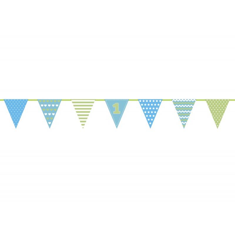 "Banderín estampado ""1"" azul de papel - First Birthday"