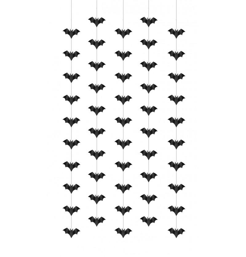 Set de 5 guirnaldas colgantes con murciélagos negros de papel - Halloween