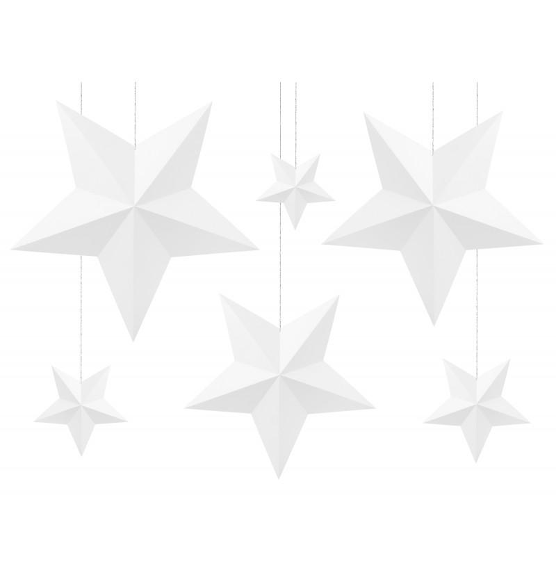 Set de 6 estrellas colgantes variadas blancas - Christmas