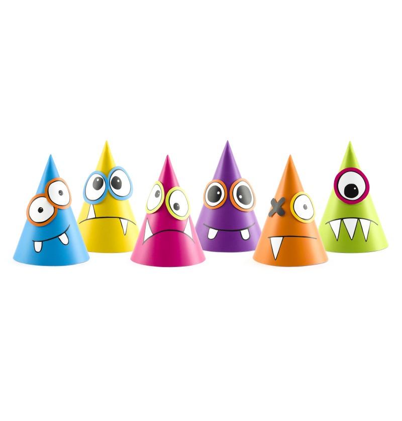 Set de 6 gorritos variados de monstruos de papel - Monsters Party