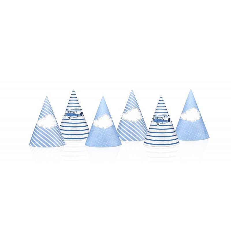 Set de 6 gorritos azules estampados de papel - Little Plane