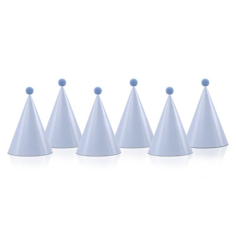 Set de 6 gorritos azules con pompón de papel