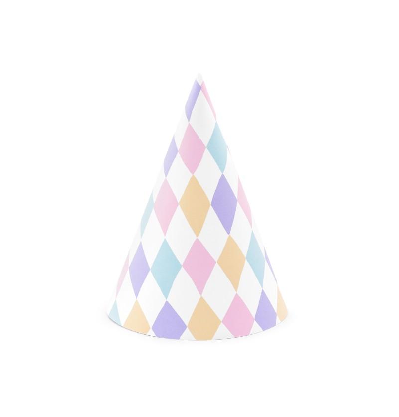 Set de 6 gorritos de rombos de papel - Unicorn