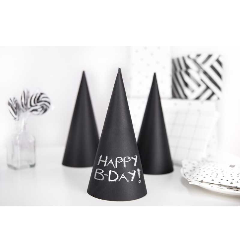 Set de 6 gorritos negros de papel - Sweets