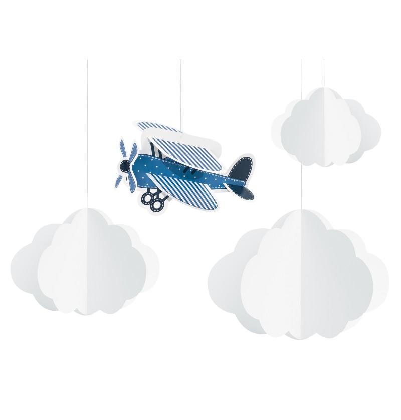 Set de 4 guirnaldas colgantes con nubes y avión de papel - Little Plane