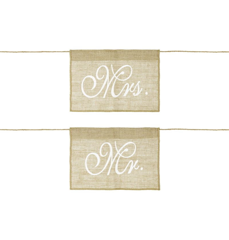 "Set de 2 decoraciones para silla ""Mr"" ""Mrs"" de rafia - Natural Wedding"