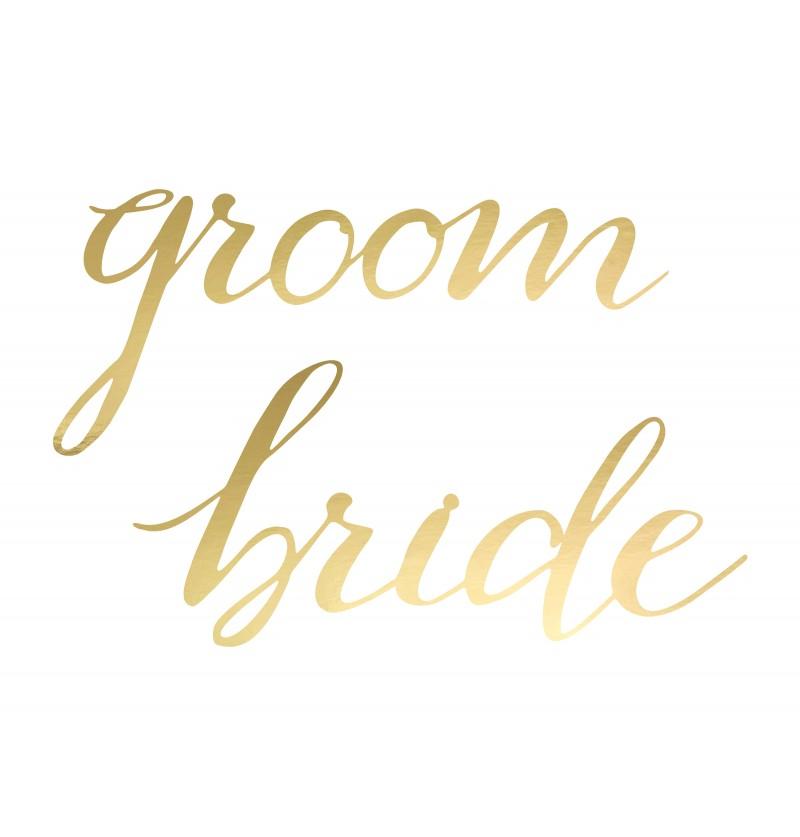 "Set de 2 guirnaldas ""Groom"", ""Bride"" doradas para silla - Elegant Bliss Collection"
