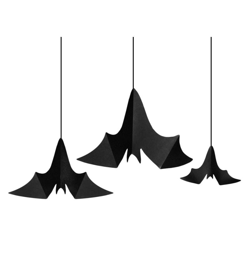 Set de 3 colgantes decorativos de murciélagos - Halloween