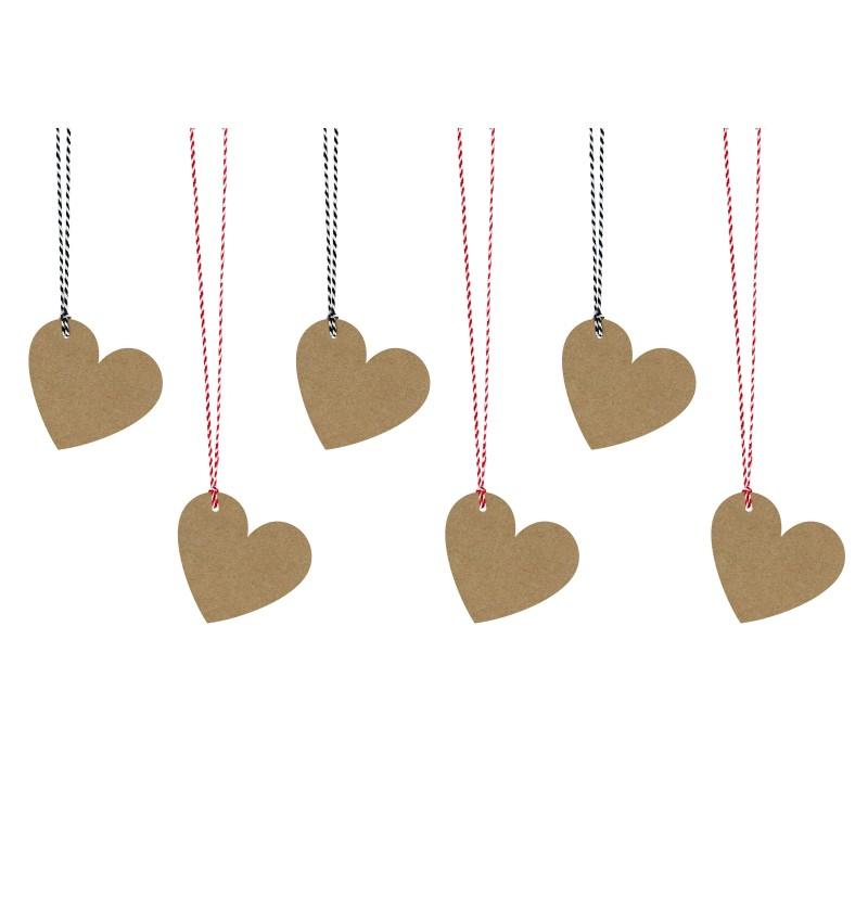 Set de 6 etiquetas con forma de corazón de papel Kraft