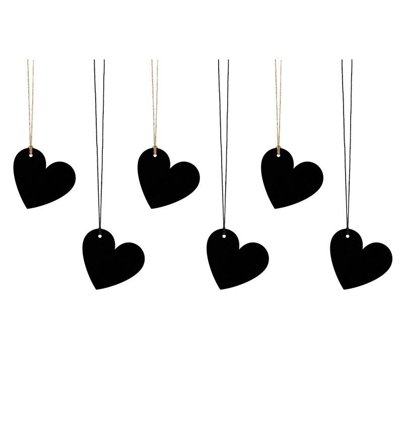 Set de 6 etiquetas con forma de corazón negro de papel