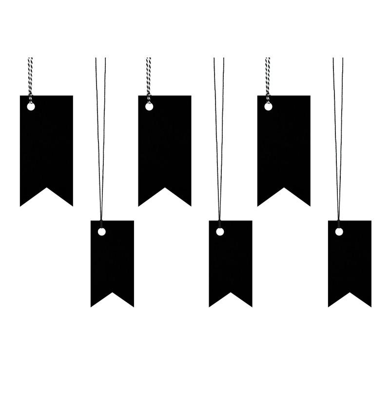 Set de 6 etiquetas tipo banderín negras de papel