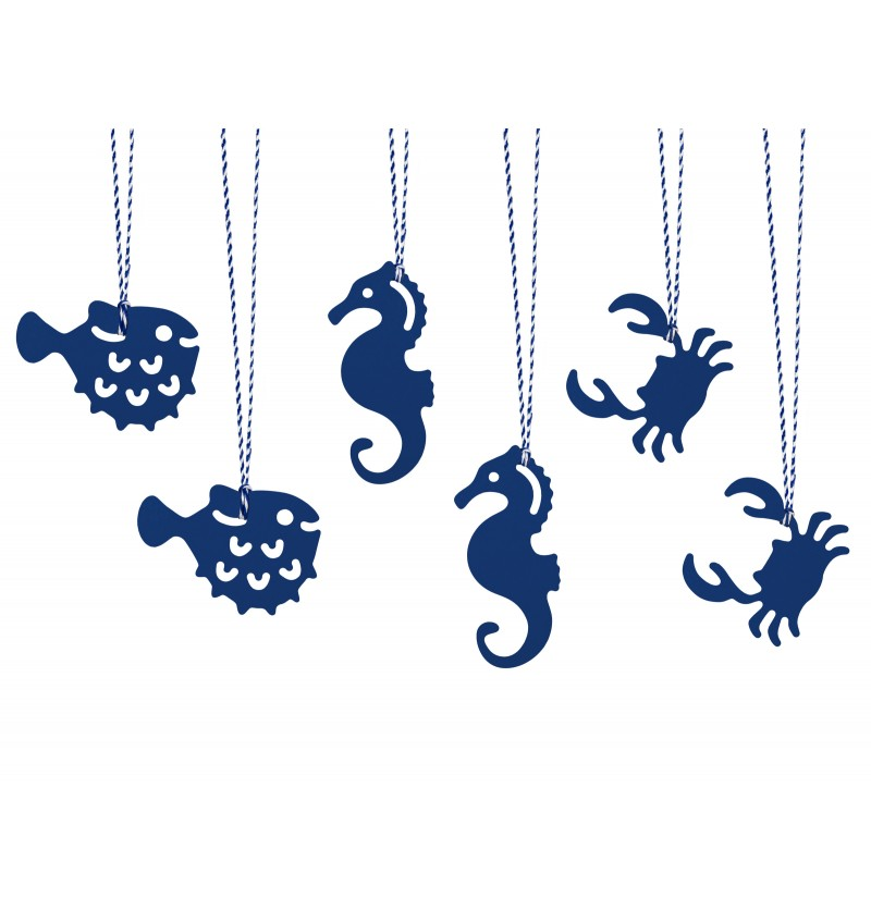 Set de 6 etiquetas marinas de papel - Ahoy! Collection