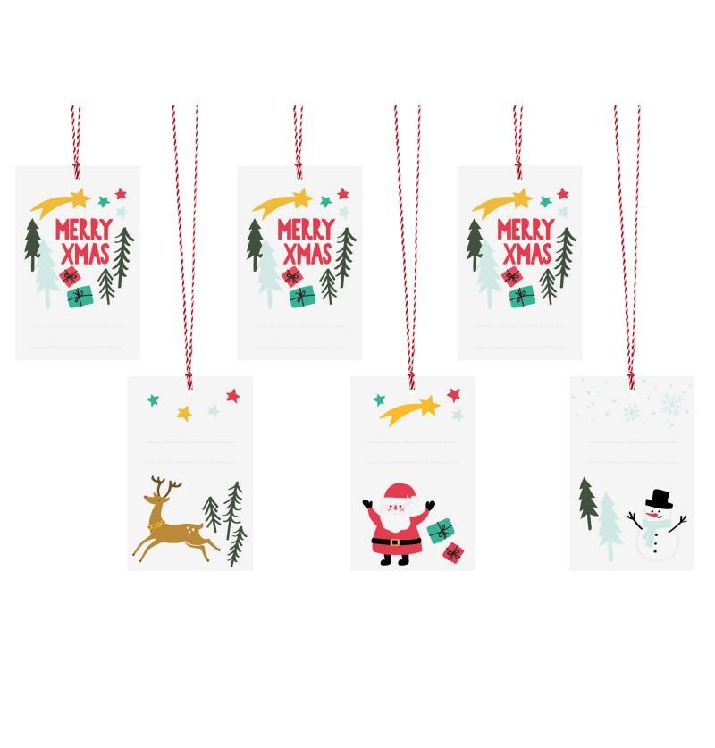 Set de 6 etiquetas diseños varios navideños de papel - Merry Xmas Collection