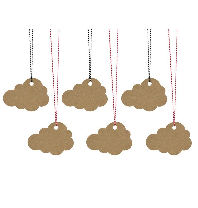 Set de 6 etiquetas Kraft con forma de nube de papel Kraft