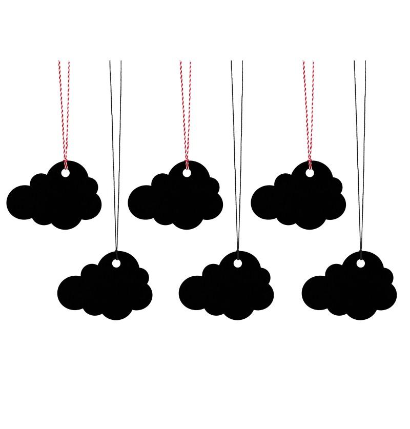 Set de 6 etiquetas negras con forma de nube de papel