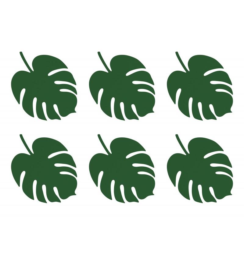 Set de 6 tarjetas para mesa verde con forma de hoja - Aloha Collection