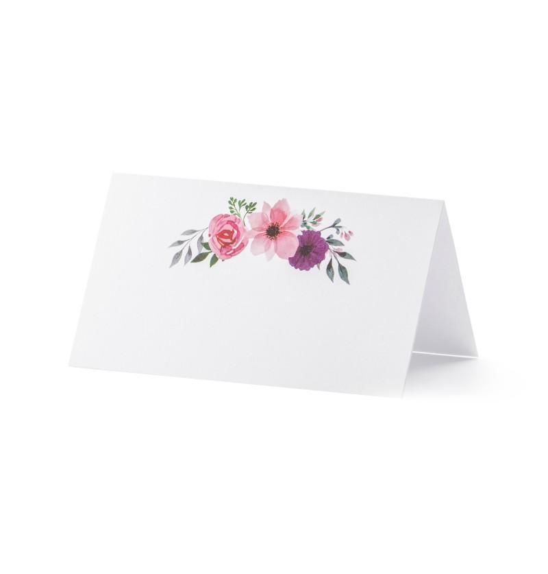 Set de 25 tarjetas para mesa blancas con flores en tonos rosas de papel