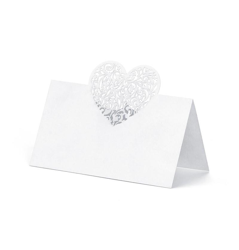 Set de 10 tarjetas para mesa blancas con corazón plateado de papel